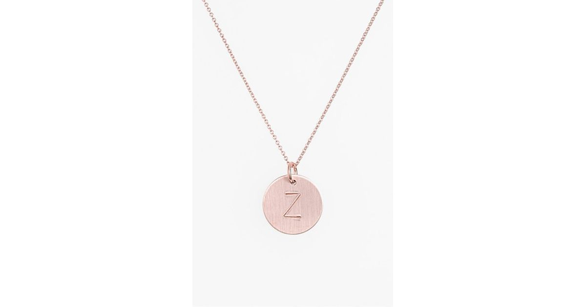 nashelle 14k gold fill initial disc necklace in pink