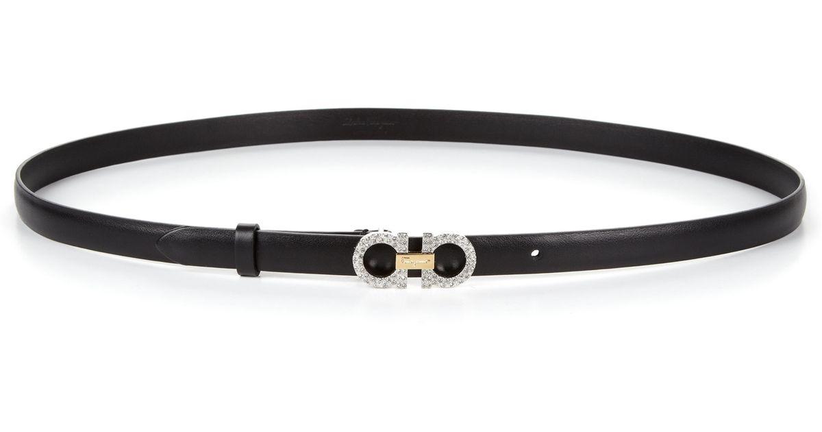 ferragamo small embellished ceylon leather belt in black