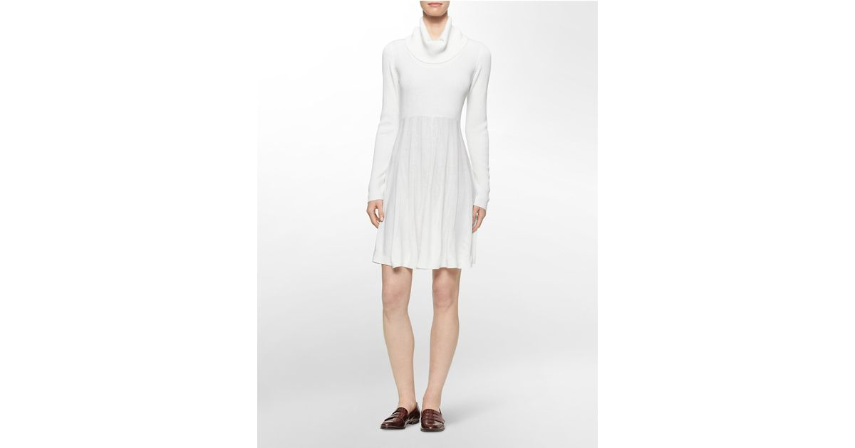 90a90c2bae Lyst - Calvin Klein White Label Pleated Cowl Neck Sweater Dress in White