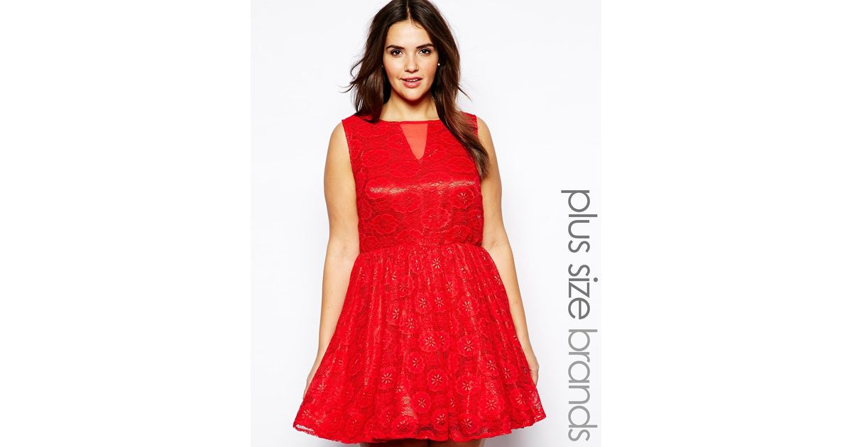 Lyst Ax Paris Plus Size Lace Mesh Skater Dress In Red