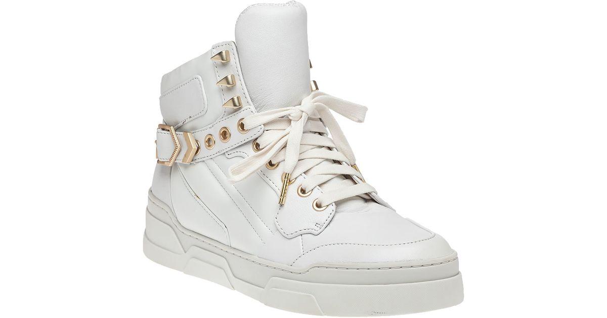 ash fl white leather hi top sneaker in white lyst
