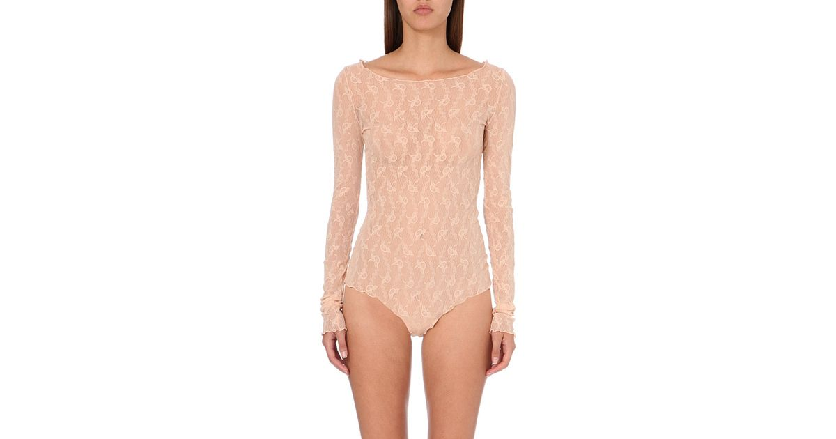 cdf2275ace41 Wolford Lilie Floral-lace Body - For Women in Pink - Lyst