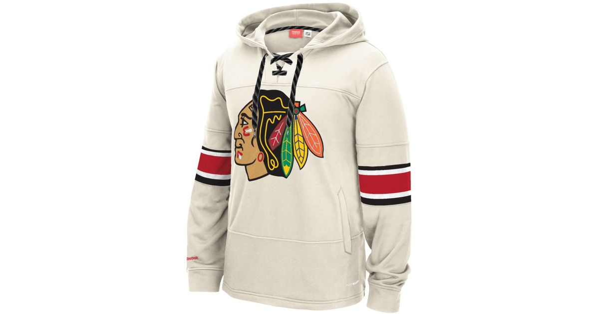 Lyst - Reebok Men s Chicago Blackhawks Jersey Hoodie in Natural for Men 20292d6ef