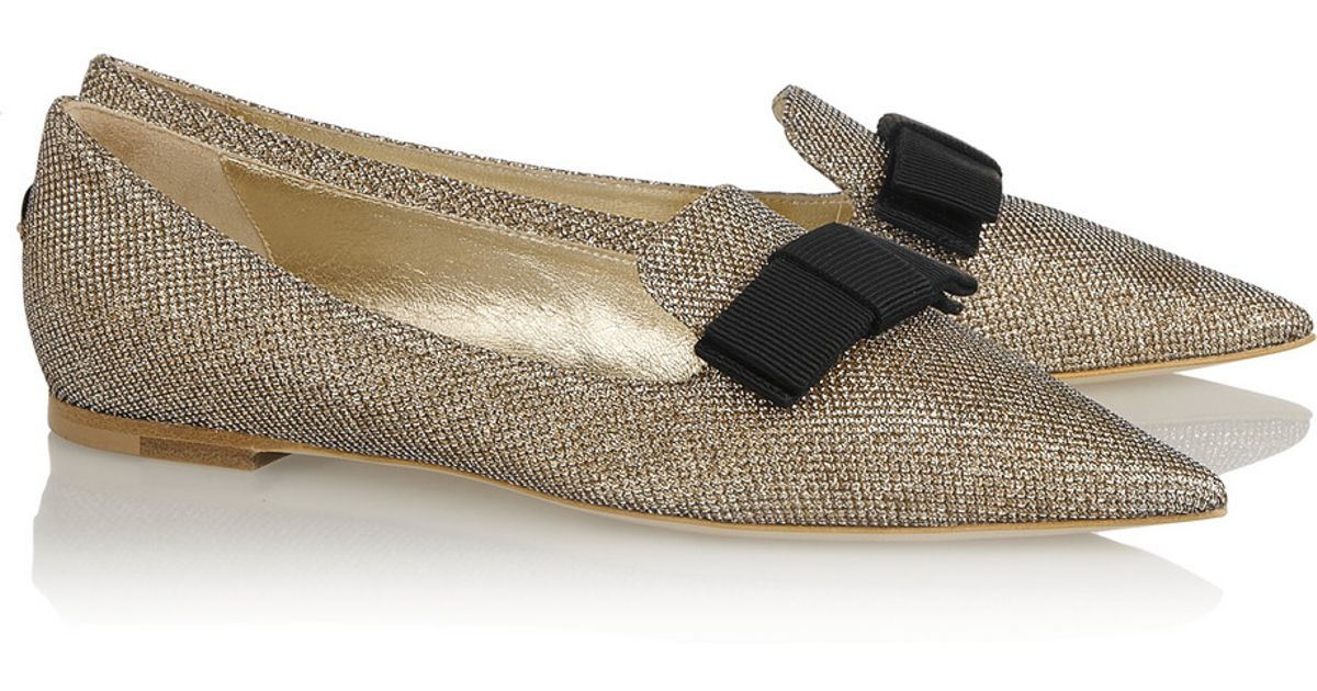 c2c5588531 Jimmy Choo Gala Textured-Lamé Point-Toe Flats in Metallic - Lyst