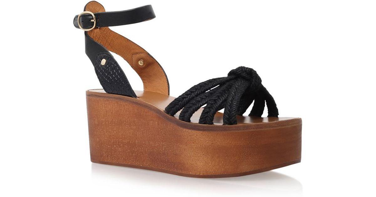 6293bfa6fe9 Isabel Marant Zia Wedge Sandal in Black - Lyst