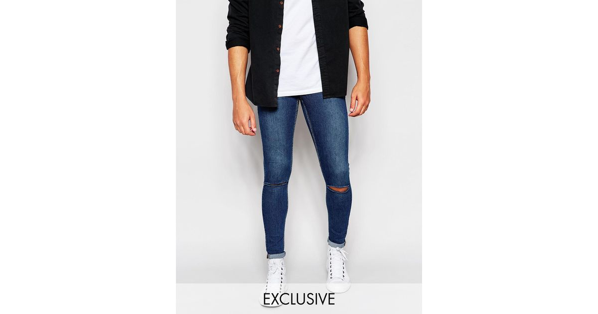 Cheap monday Jeans Low Spray Extreme Super Skinny Mid Blue Ripped ...