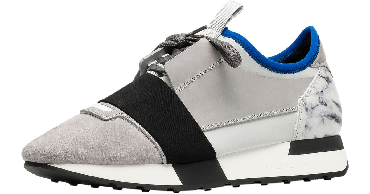 Balenciaga Race Runners Marble Paneled Low Top Sneakers In