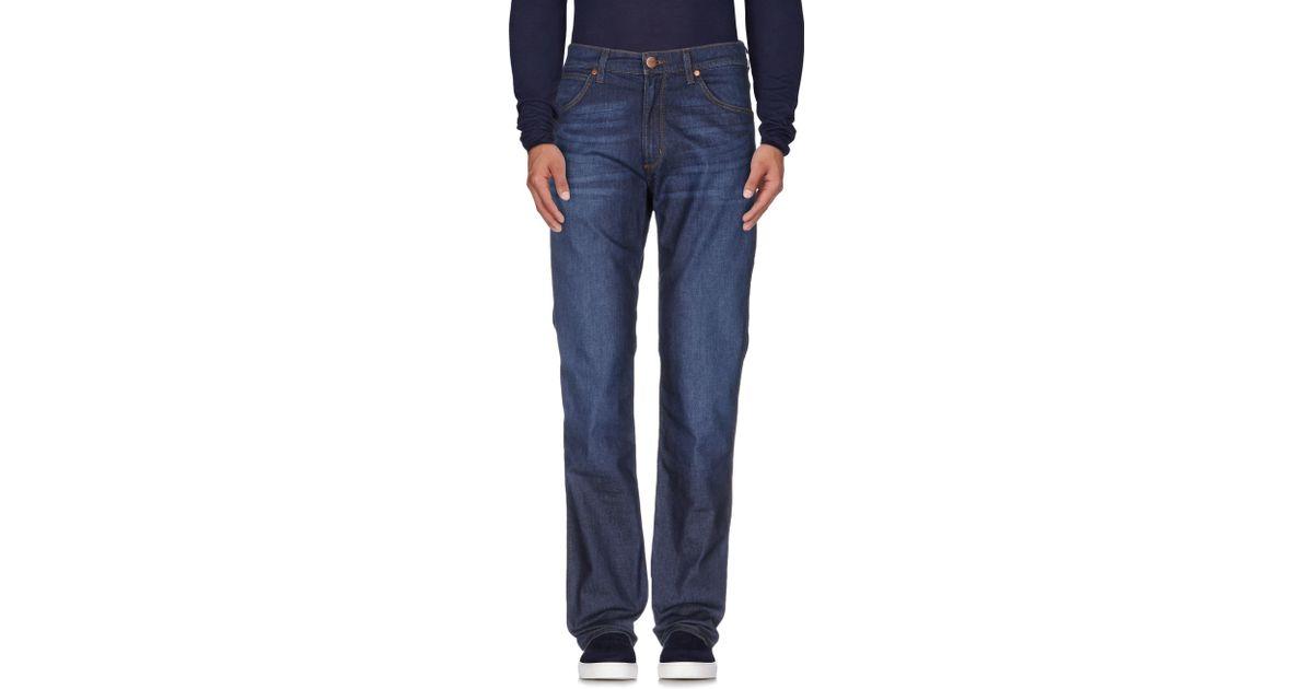 Lyst wrangler denim trousers in blue for men for Wrangler denim shirts uk