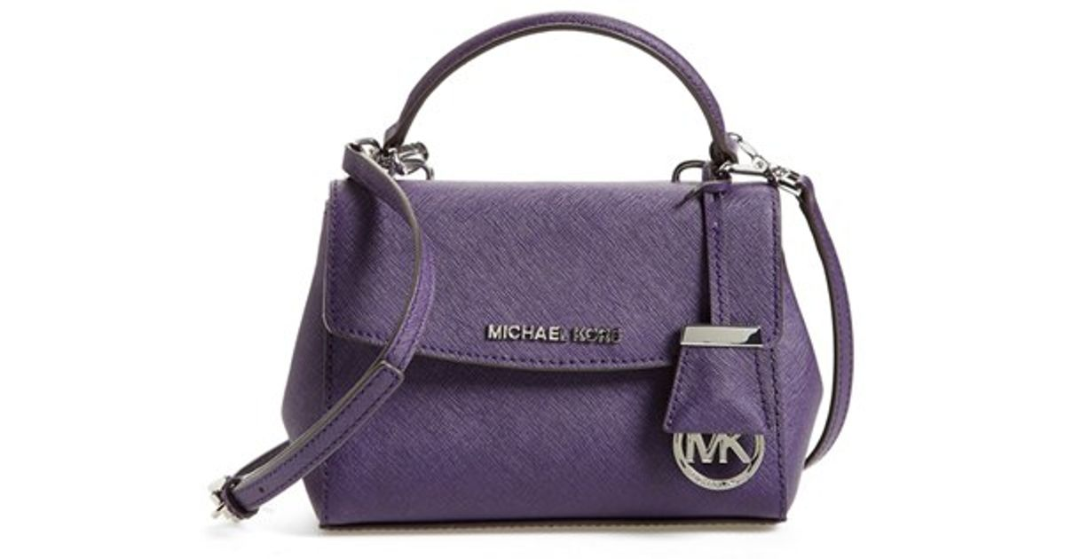 1102dae68af4 Lyst - MICHAEL Michael Kors  extra Small Ava  Leather Crossbody Bag - Purple  in Purple