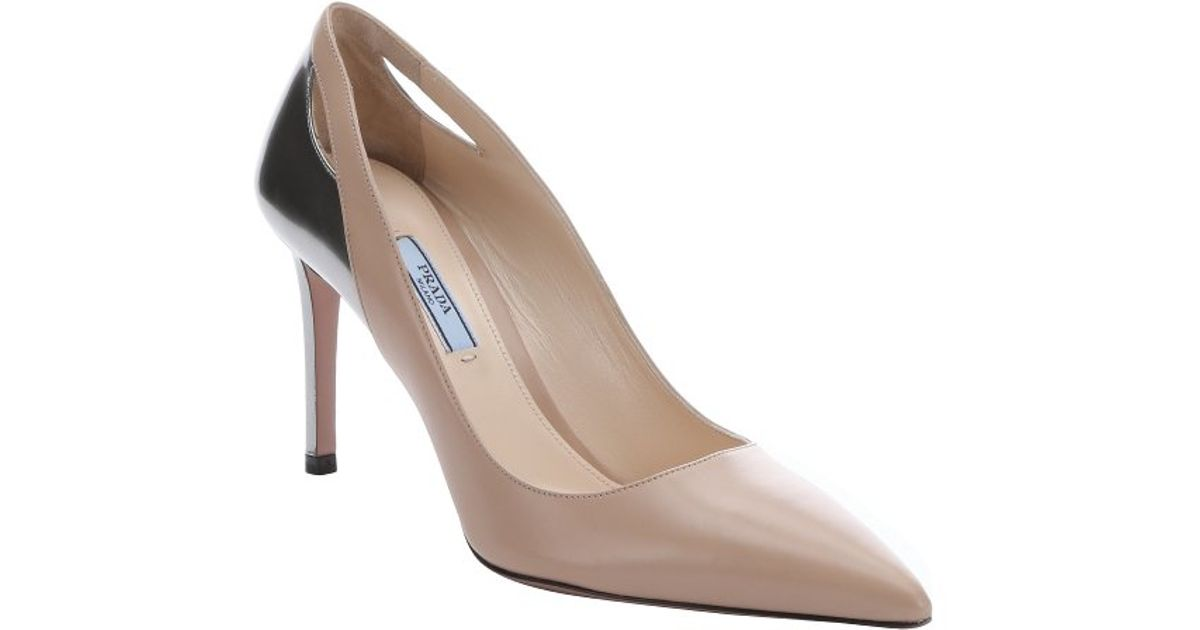Prada Pink And Silver Leather Stiletto Pumps in Pink  Lyst