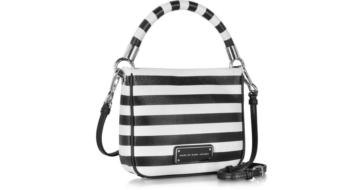 Lyst Marc By Jacobs Too Hot To Handle Hoctor Black And White Stripe Leather Crossbody Bag In