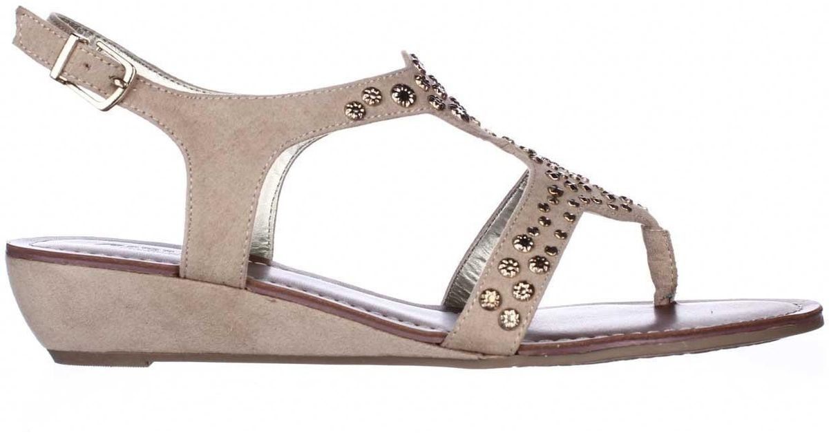 86691623079a Carlos By Carlos Santana Mira Low-heel Wedge Sandals in Natural - Lyst
