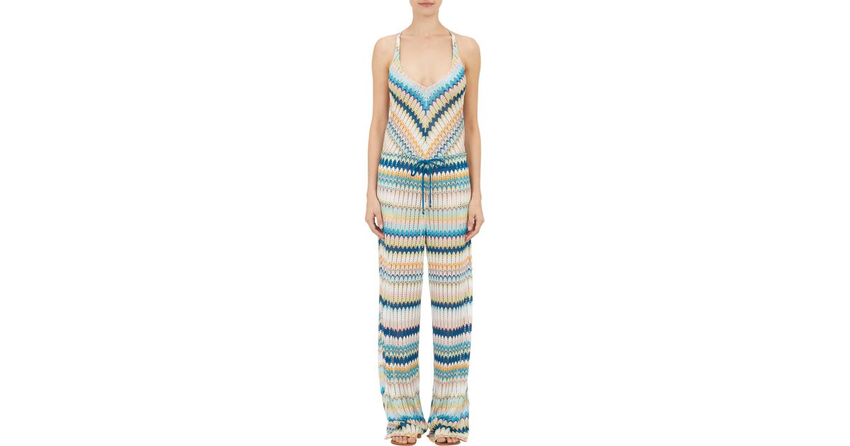 e4377ea34c Missoni Zigzag Knit Jumpsuit Cover-up in Blue - Lyst