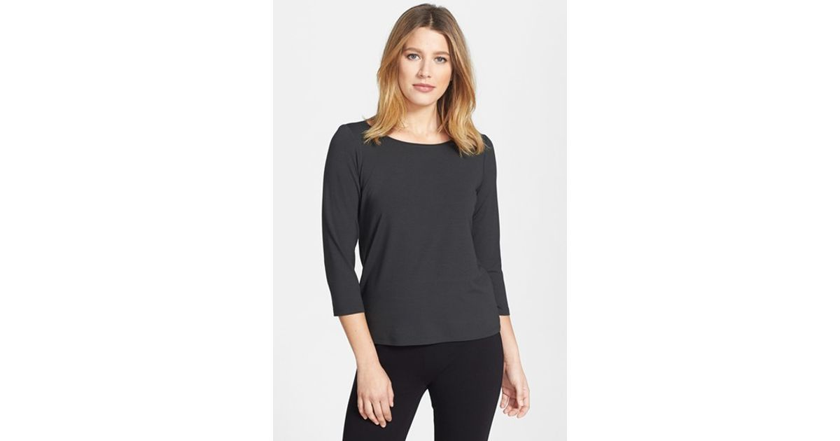 Eileen fisher ballet neck tee in gray lyst for Ballet neck tee shirts