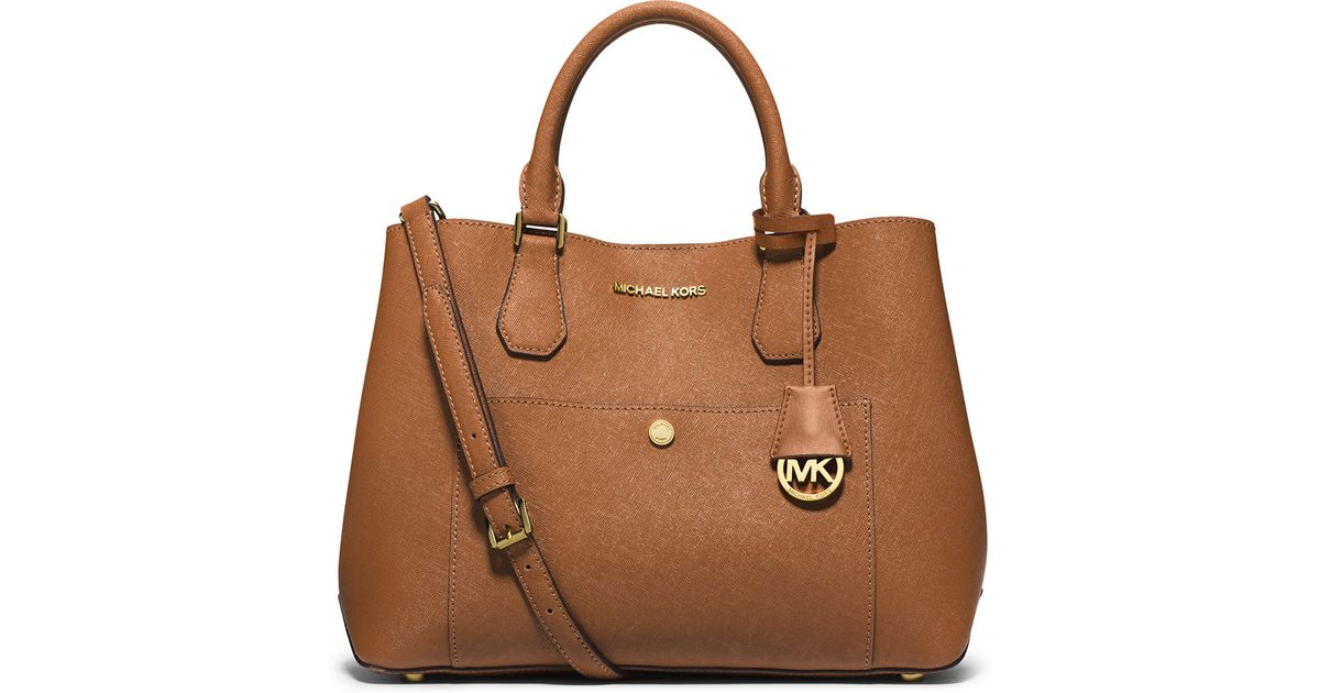 23d31f28a165 Lyst - MICHAEL Michael Kors Greenwich Large Leather Tote in Brown