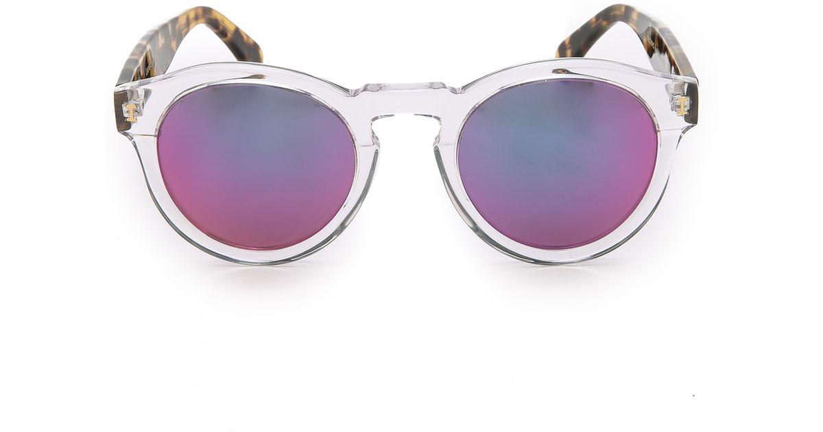 2b1d5deeb6f Illesteva Leonard Mirrored Sunglasses - Clear   Tortoise pink in Pink - Lyst