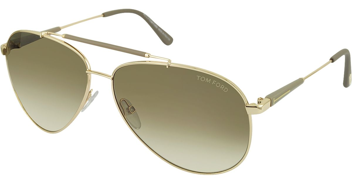 0bdd90120a3 Lyst - Tom Ford Rick Ft0378 28j Gold Brown Metal Aviator Sunglasses in  Metallic for Men