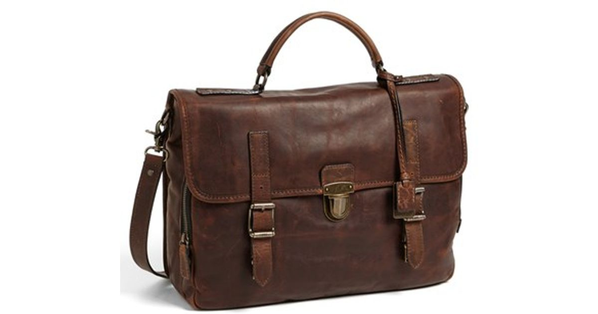 Frye Logan Leather Buckle Briefcase In Brown For Men Lyst