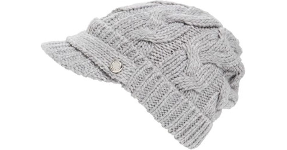 Lyst - MICHAEL Michael Kors Cable Knit Newsboy Hat in Gray 7fcf746fe69