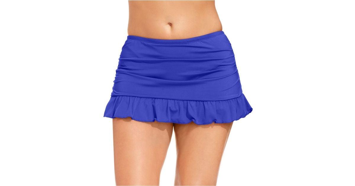 3702e73df7f0f Lyst - Kenneth Cole Reaction Plus Size Ruffled Swim Skirt in Blue