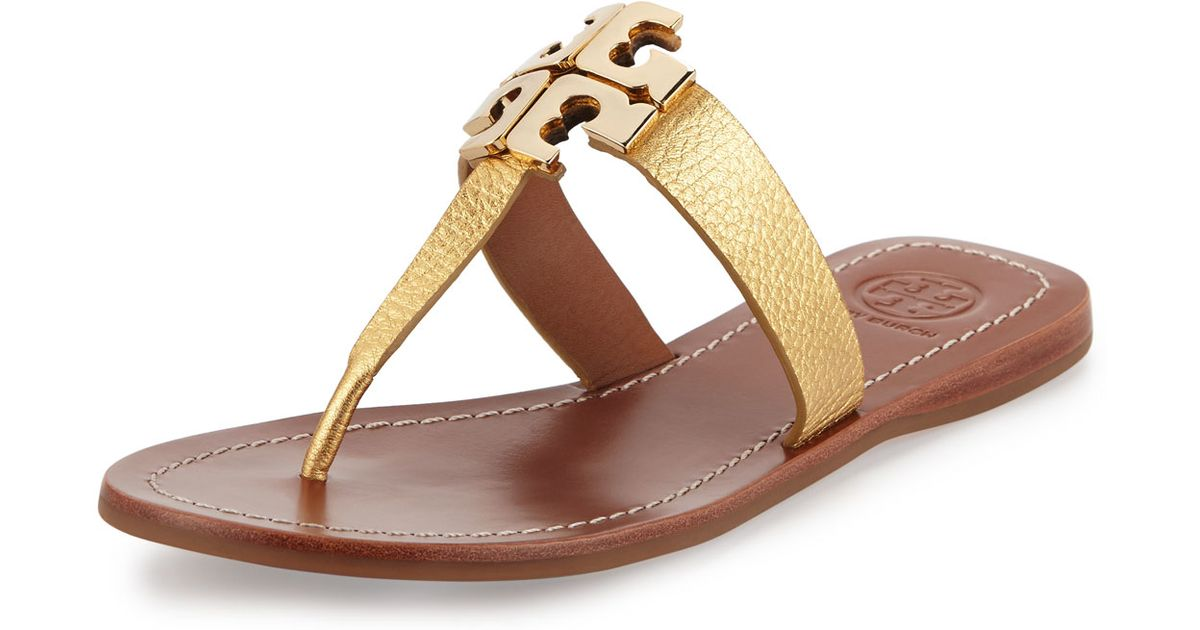 cd96c75200d76c Lyst - Tory Burch Moore 2 Flat Leather Thong Sandal in Metallic