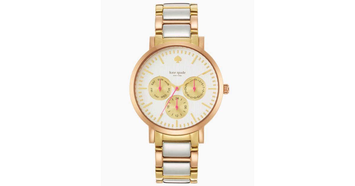 Lyst Kate Spade New York Women S Gramercy Grand Tri Tone Bracelet Watch 38mm 1yru0481 In Metallic