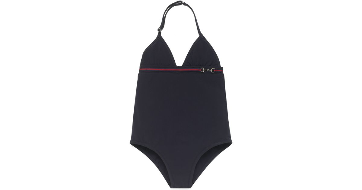 ae258cc088 Lyst - Gucci Banded One-piece Swimsuit in Blue