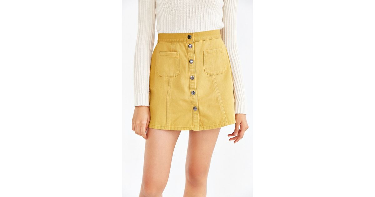 3e2112989 BDG Twill Button-front A-line Skirt in Yellow - Lyst