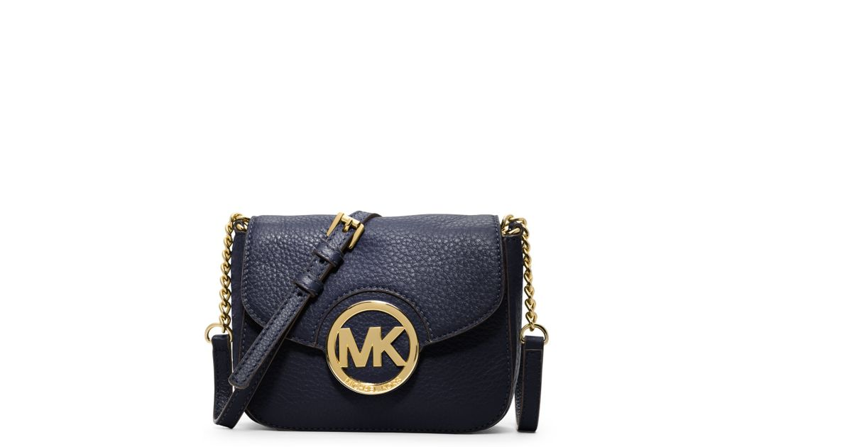 9bf97d45645b Lyst - Michael Kors Fulton Leather Small Crossbody in Blue