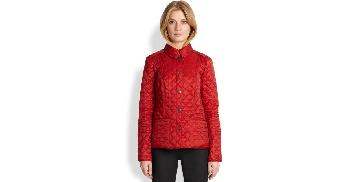 Burberry brit Kencott Quilted Jacket in Red | Lyst : red burberry quilted jacket - Adamdwight.com