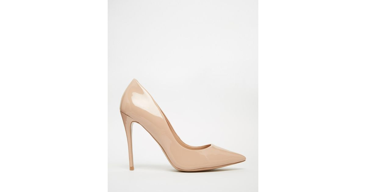 c4de75a7ff90 Lyst - ALDO Stessy Pale Pink Leather Heeled Pumps in Natural