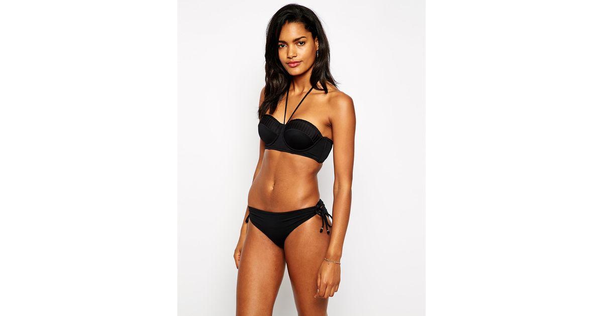 94aacaead3 Lyst - Seafolly Goddess Strapless Bustier Bikini Top in Black