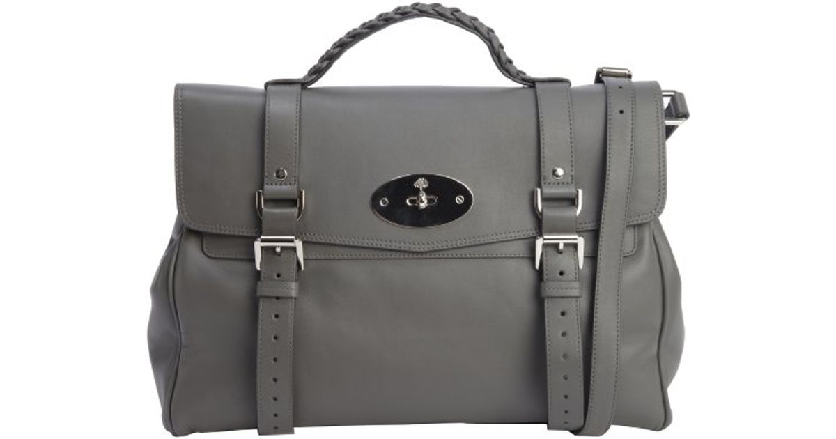45a626a5b1c ... denmark lyst mulberry pavement grey leather top handle alexa satchel in  gray 1426a 676ad
