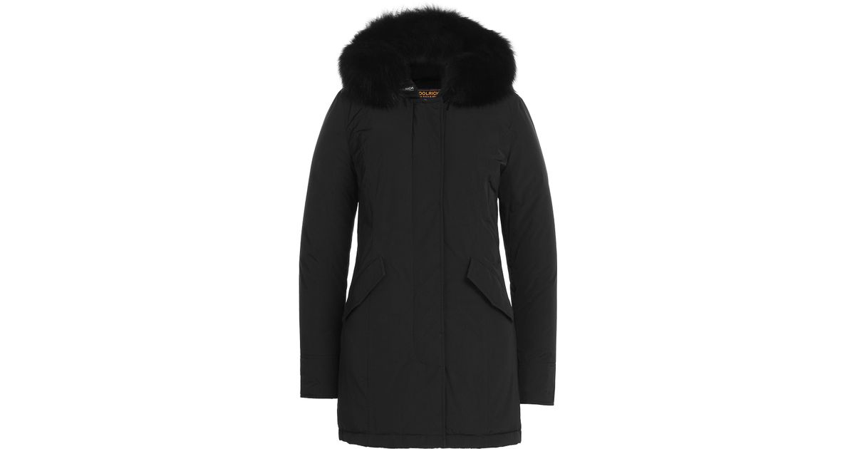 woolrich luxury fox arctic parka with fur trimmed hood black in black lyst. Black Bedroom Furniture Sets. Home Design Ideas