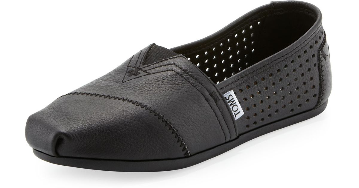 f1c25d5c6ed Lyst - TOMS Perforated Leather Slip-On in Black