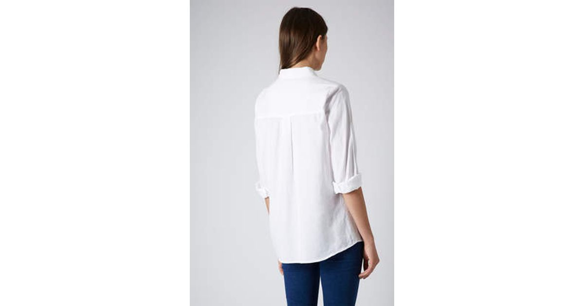 ecd070ed224 TOPSHOP Maternity Casual Chambray Shirt in White - Lyst