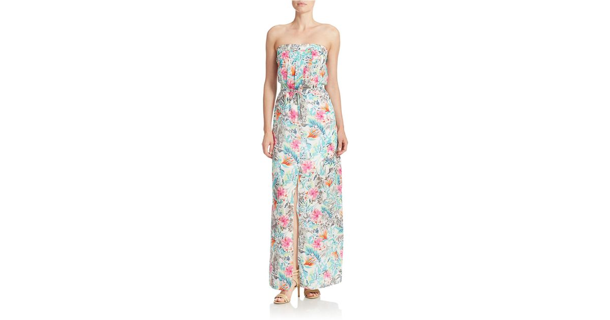 Lyst Guess Strapless Floral Print Maxi Dress In Blue