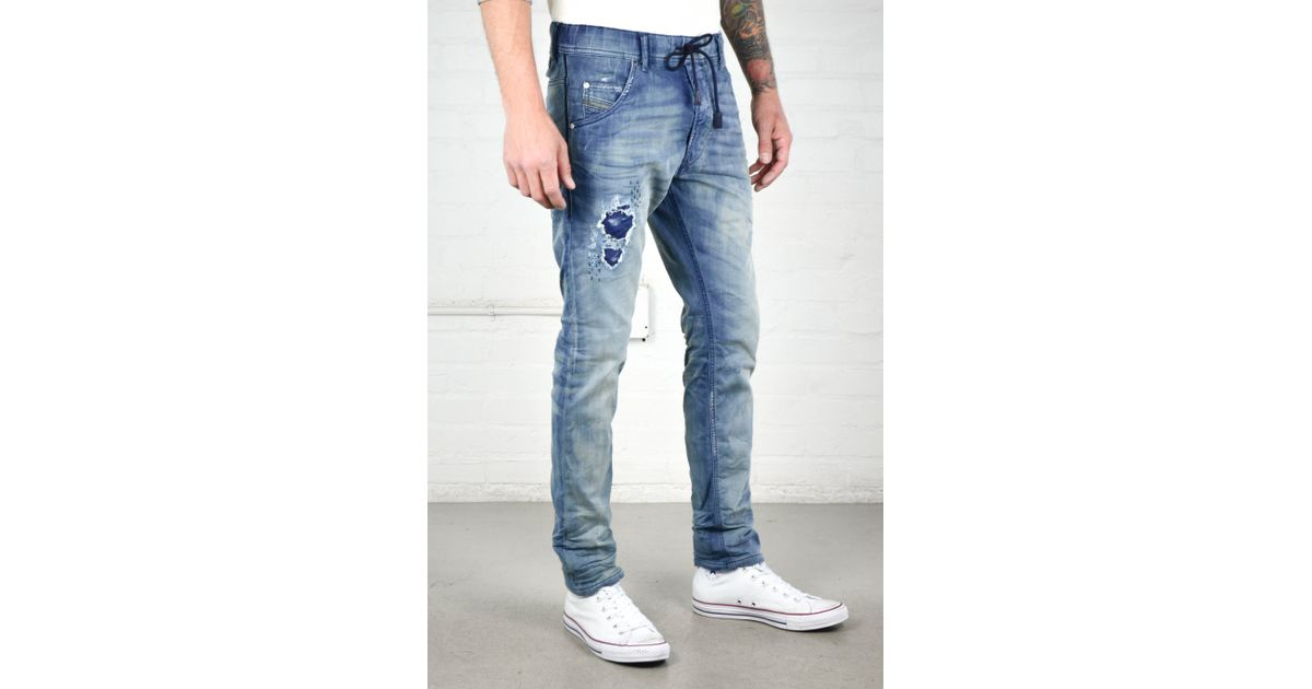 diesel krooley 0672f jogg jeans in blue for men lyst. Black Bedroom Furniture Sets. Home Design Ideas