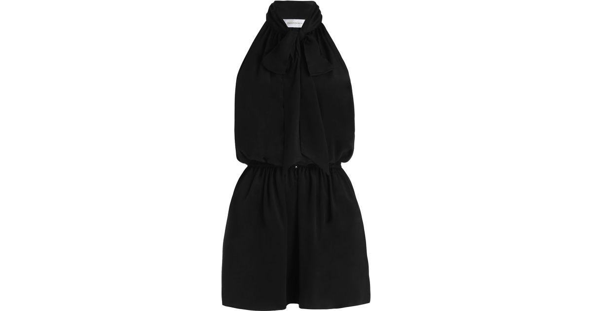 94ce37403a6 Lyst - Zimmermann Silk Bow Tie Playsuit in Black