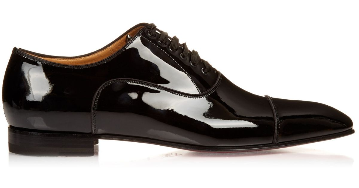 Christian louboutin Greggo Patent-leather Lace-up Shoes in Black ...