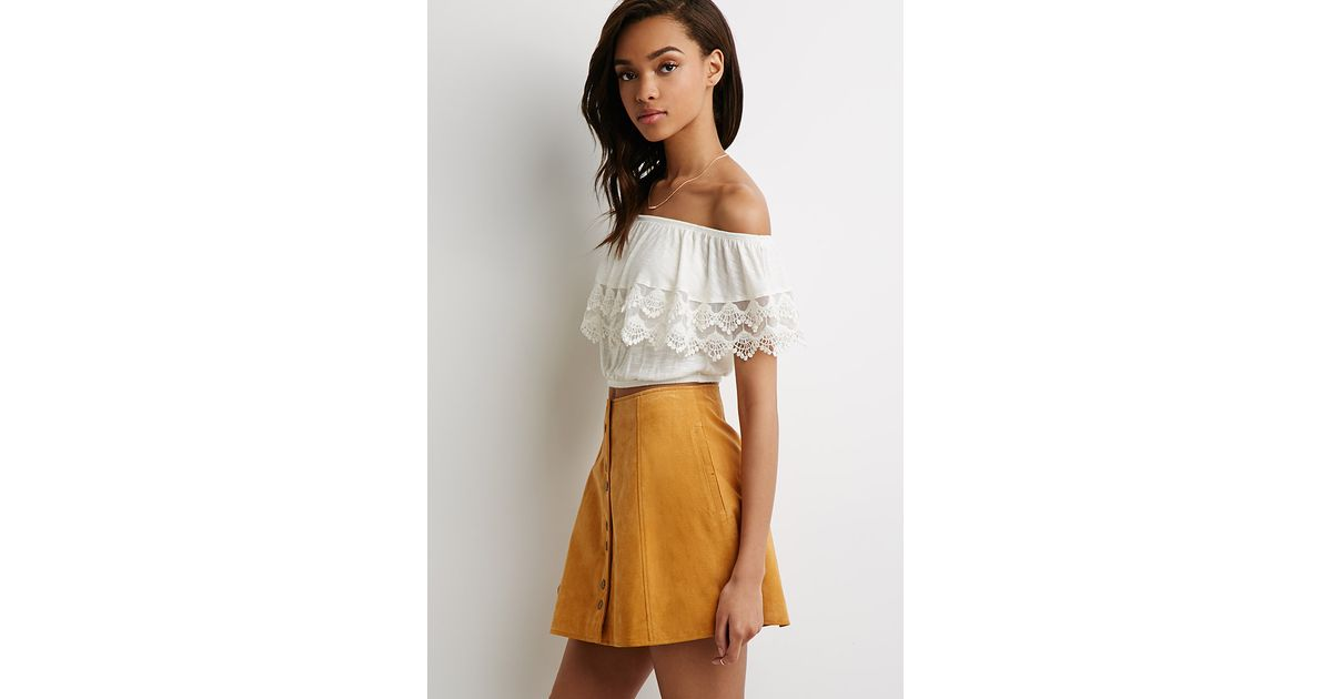 f0ee8a6568649 Lyst - Forever 21 Crocheted Flounce Off-the-shoulder Top You ve Been Added  To The Waitlist in Natural