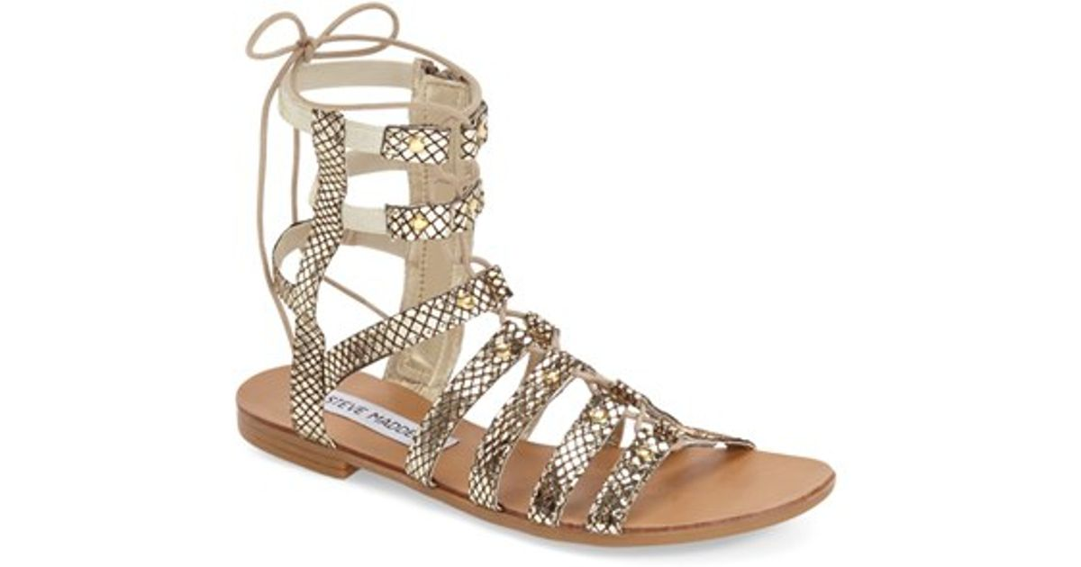 455acaf5bf4 Lyst - Steve Madden  sparra  Gladiator Sandal in Metallic