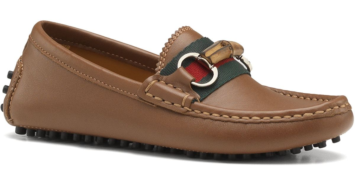 ce14ffcac Gucci Kids Leather Driver Loafers in Brown for Men - Lyst