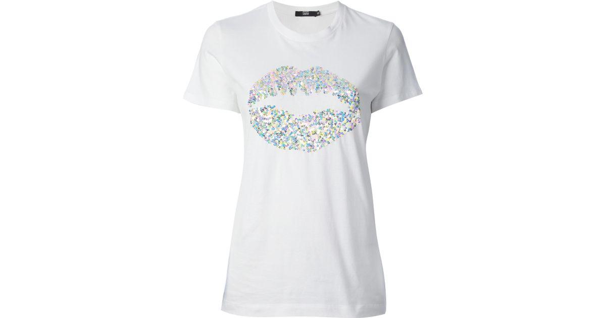 275c8907af57 Markus Lupfer Sequin Lips Logo Tshirt in White - Lyst