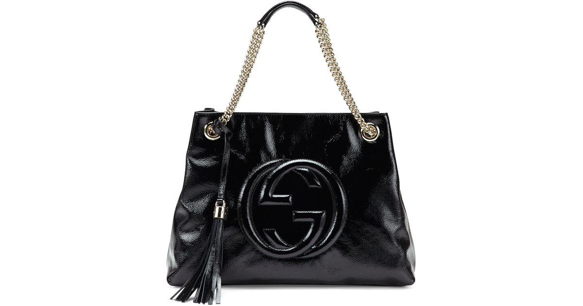 ad0e4e1000d Lyst - Gucci Soho Patent Leather Shoulder Bag in Black