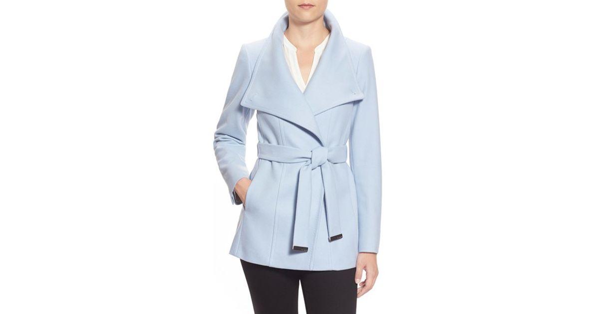 0ddf475c2 Lyst - Ted Baker  paria  Short Wool Blend Wrap Coat in Blue
