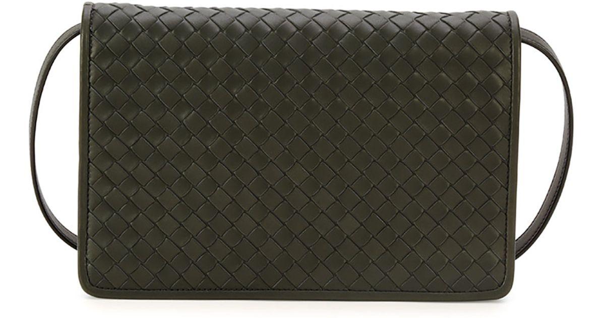 Lyst - Bottega Veneta Intrecciato Medium Clutch Bag W strap in Black 1fd6688a4cbed