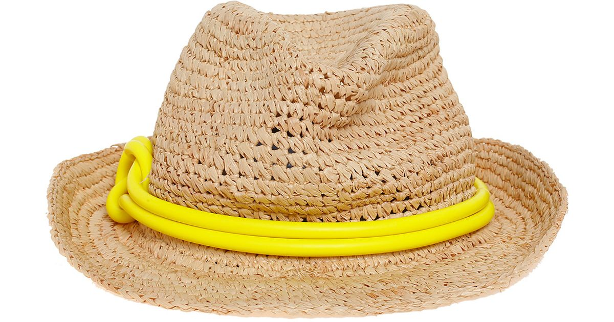 Lyst - Tracy Watts Hitch Latex Trim Fedora in Yellow for Men f39cf84c694