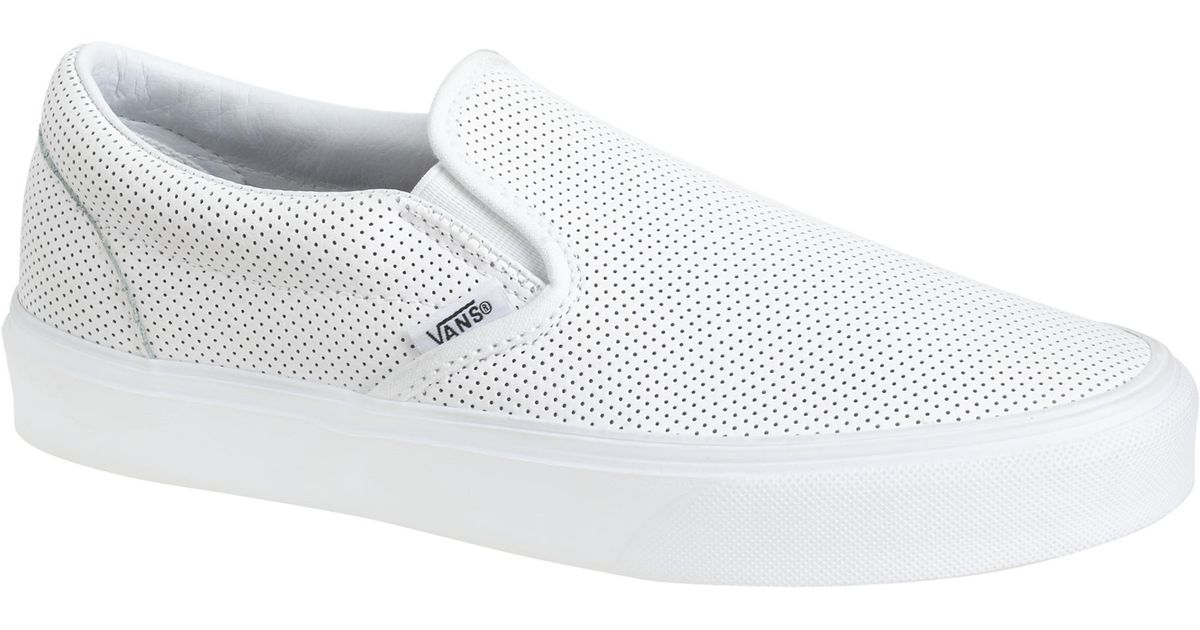 b951038b52 Lyst - J.Crew Vans Classic Slip-on Sneakers In Perforated Leather in White