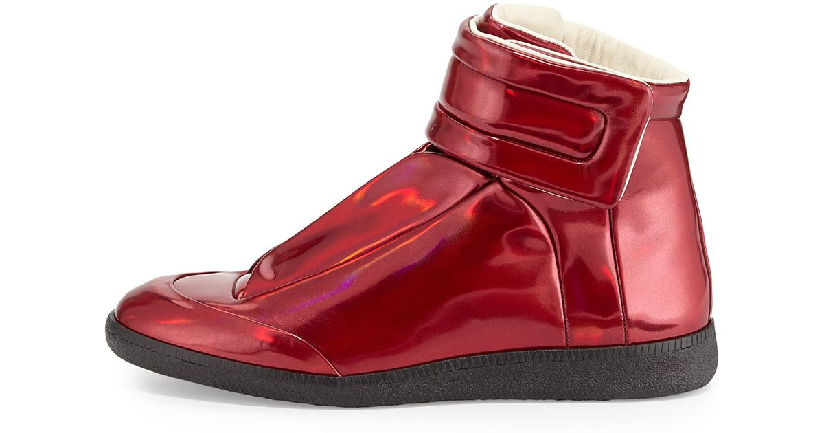 Lyst - Maison Margiela Future Leather High-Top Sneakers in Red for Men 7ed10a9fe
